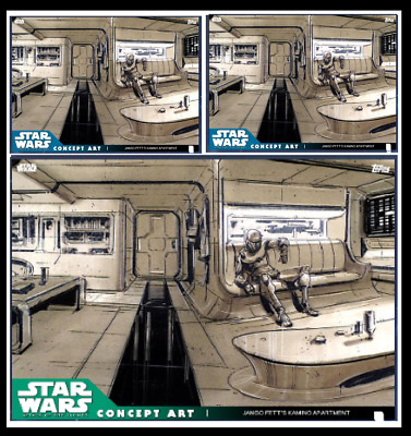 Topps Star Wars Card Trader Aotc Concept Art Jango Fett's Apartment Blue & Green