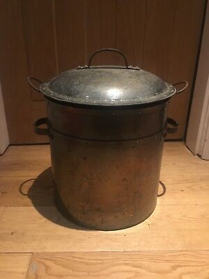 Vintage Victorian Metal Original Coal Bucket with Lid