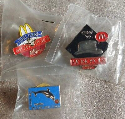 Lot of 3 Mixed McDonald's 1980's to 1990's Collectible Lapel Pins(A)