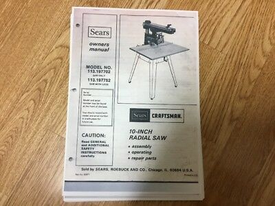 Sears Craftsman 10'' Radial Arm Saw Owners  Manual Model113