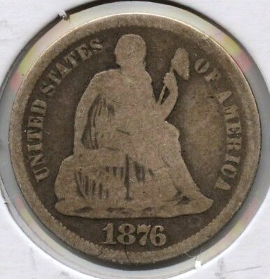 1876-CC Seated Liberty Dime - Carson City Mint AT487