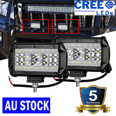 Pair 5inch 2100w LED Driving Light Spotlights Square Offroad work 4WD Black 4x4