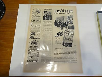 1938 Hennessy Print Advertisement!!! Half Page Ad!!! LOOK!!!
