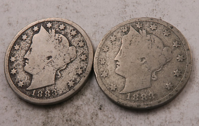 (2) 1883 *with cents* Liberty V Nickel Lot // Good+ // 2 Coins (VL83)