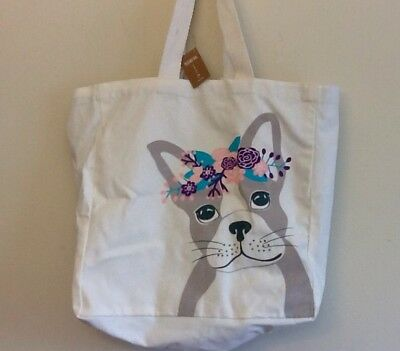 French Bulldog With Flowers Large Tote Bag