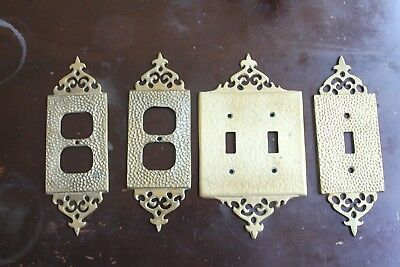Vintage Brass Hammeredqty 2 Light Switch Cover Plate,2 outlet cover plates,