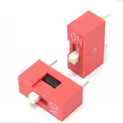 10pcs 2.54mm Red Pitch 8-Bit 1 Positions Ways Slide Type DIP Switch Sales@TOCA