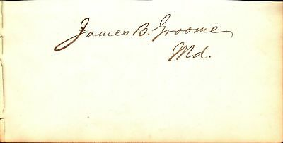 James B Groome MD Senator 1879-1885 & MD Governor 1874-76 album page cut