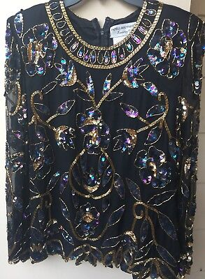 PAPELL BOUTIQUE Evening Women Formal Sequin Emebelished Blouse, SzM, Silk.