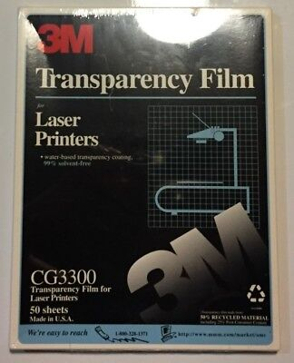 """3M Transparency Film For Laser Printers  8.5""""x11"""" 50 Sheets CG3300"""