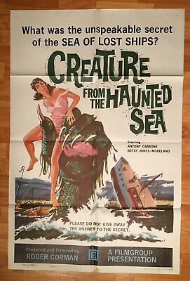1961 - CREATURE FROM THE HAUNTED SEA Roger Corman -ORIGINAL POSTER 27x41 1 Sheet