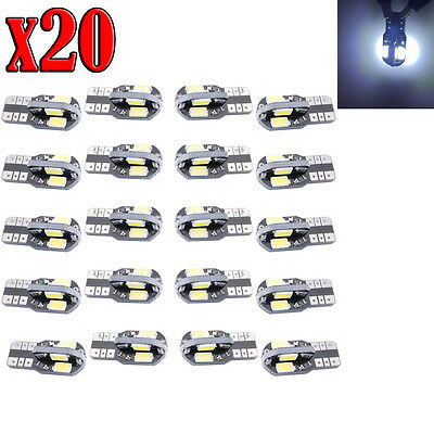 20X Canbus T10 194 168 5730 8 LED 6500K SMD White Car Side Wedge Light Lamp Bulb