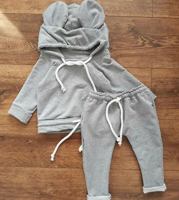 3pc Newborn Kid Baby Girl Boys Animal Clothes Hooded Tops Bodysuit Pants Outfits