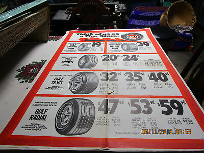 1960's Original Gulf Oil Tires Advertising Poster Great Condition