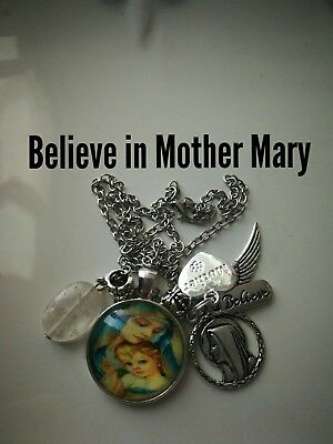 Code 382 Mother Mary quartz infused Necklace Confirmation Communion Cabochon