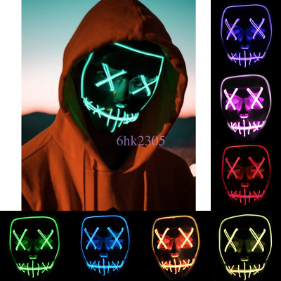 New LED Full Face Mask Halloween Costume Cosplay Purge Movie EL Wire DJ Party UK