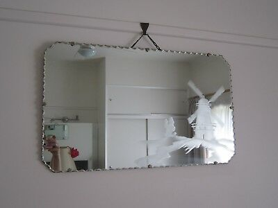 Vintage Art Deco Collectable Large Pie Crust Edged Mirror With Windmill Scene