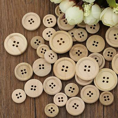 Lots 50Pcs Mixed Wooden Round Buttons Natural Color 4-Holes Sewing Scrapbooking