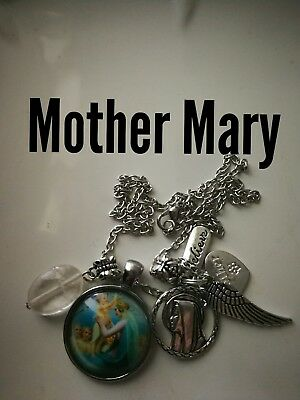 Code 384 Mother Mary quartz infused Necklace Confirmation Communion Cabochon