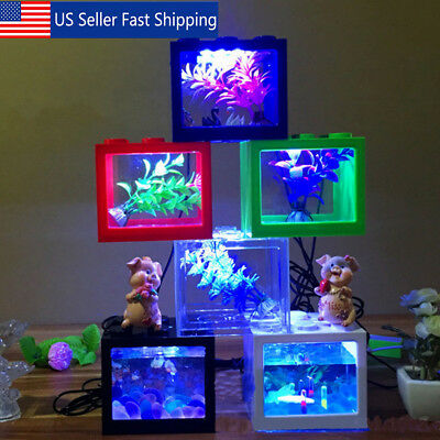 Mini Clear USB LED Goldfish Betta Fish Tank Ornament Aquarium Desktop Decoration