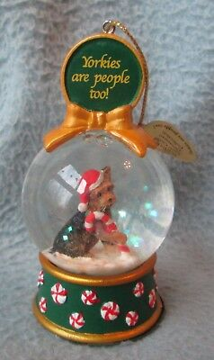 Danbury Mint Yorkshire Yorkies Are People Too Snow Globe Christmas Ornament