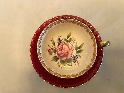 Aynsley Dark Red,Roses,Gold Handle and Trim,scalloped cup and saucer