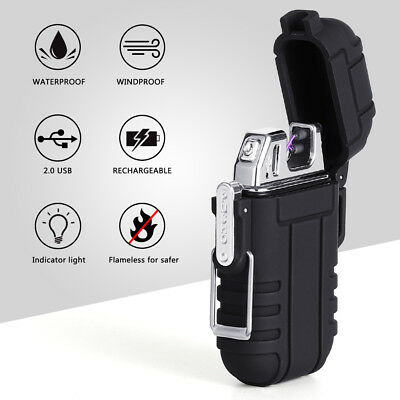 Dual Arc Electric USB Lighter Rechargeable Waterproof Flameless Cigarette-Black