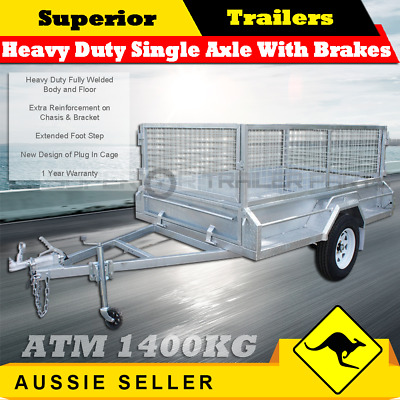7x5Heavy Duty Single Axle Box Trailers With Brakes Includes 600mmCage/BOXTRAILER