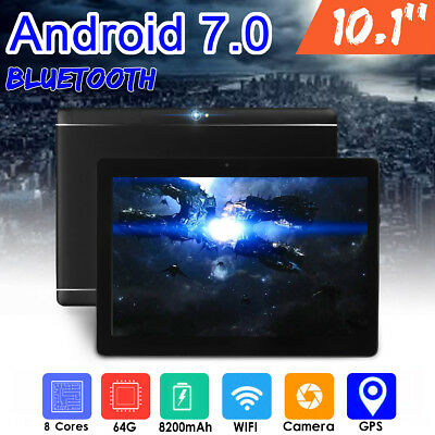 UK 10.1'' 7.0 Android Tablet PC 64GB+4GB Core 8 HD WIFI Bluetooth 2 SIM Phablet