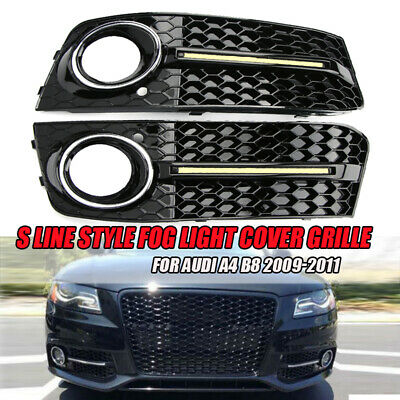 Pair Chrome S Line Style Fog Light Cover Grille DRL Grills For Audi A4 B8 09-11
