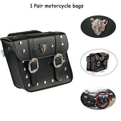 1 Pair Motorcycle Leopard Saddlebags Saddle Bags Pouch for Harley