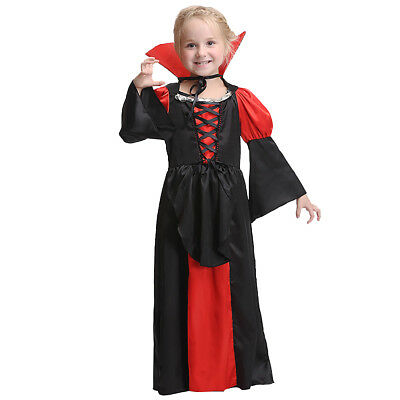 Girls Vampire Costume Kids Halloween Dracula Fancy Dress Childrens Party Outfit