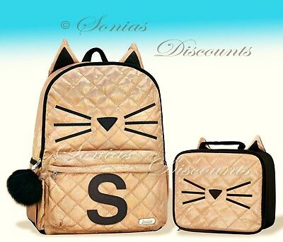"""Justice Initial """"S"""" Gold CAT Quilted Backpack+Lunch Tote Set-NWT-Simply Elegant!"""
