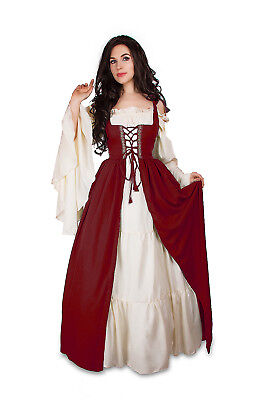 Renaissance Medieval Irish Costume Cranberry Over Dress ONLY Fitted Bodice l/xl