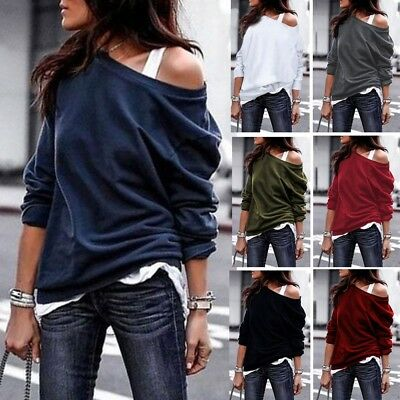 Womens Cold Off Shoulder Tops T Shirt Long Sleeve Autumn Tops Blouse Pullover