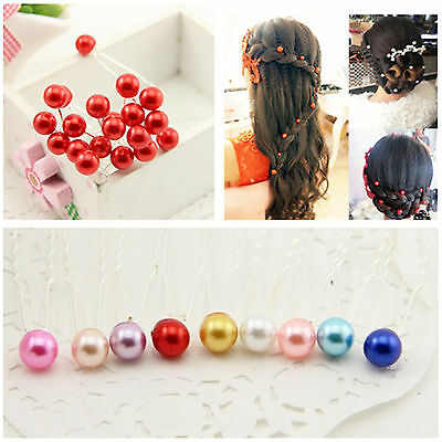 20PC Fashion Women Hair Clip Bead Pearl Hairpin Wedding Bridal Prom Hair Pins
