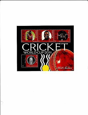 Nevis, Cricket World Cup 2011,West Indies & Chris Gayle S/S MNH