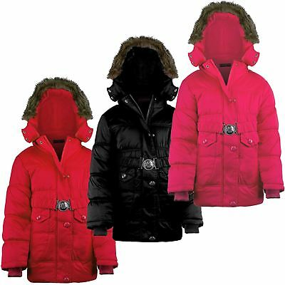 Girls Detach Hood Quilted Winter Jacket Padded Belted Fleece Lining 3-14 Years