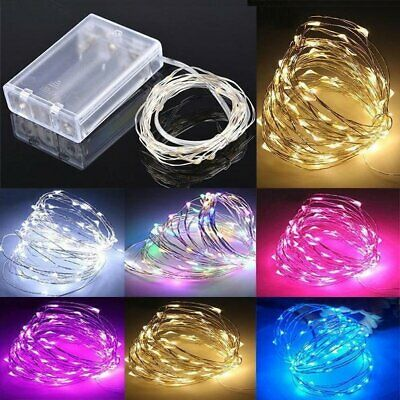 Battery Operated Mirco Rice Wire Copper String Fairy Lights Xmas Wedding Party