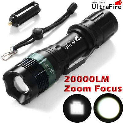 Tactical Flashlights T6 LED 18650 Hunting Lamp 20000LM Zoomable Focus Torch UK