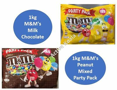 1kg M&M's Milk Chocolate + 1kg M&M's Peanut Mixed Party Pack Bulk M&Ms