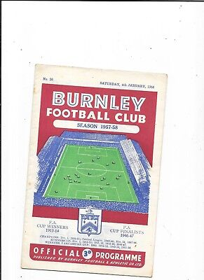 Burnley v Swansea FA Cup 3rd Round 4/1/1958