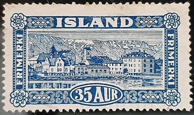 Iceland 1925 Sc # 147 Deep Blue 35a View of Reykjavik Used NH Stamp