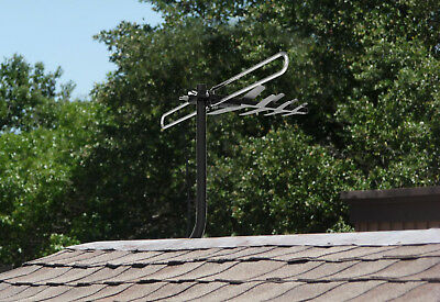 1byone Outdoor Amplified TV Antenna 180 Miles 360° Digital Wireless Remote 1080P