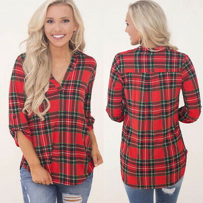 Womens Long Sleeve V-neck Check Casual Shirts Ladies Plaid Tops Blouse Plus Size