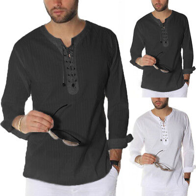 S-3XL Men Casual Long Sleeve Middle East Style Arab Kurta Saudi Shirt Blouse