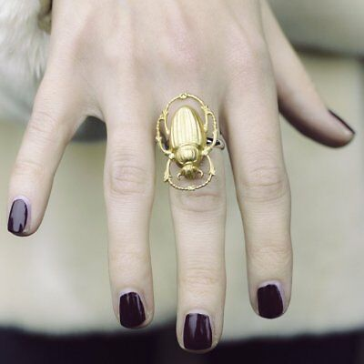 Vintage Brass Scarab Beetle Egyptian Revival Statement Ring Adjustable Base Gold