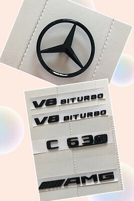 Gloss Black C63s AMG V8 BITURBO Sticker Decal Emblem Badge Package for W205 C63s