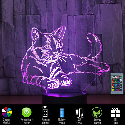 7 Colors 3D LED Night light Remote Control Desk Illusion lamp Kids Cartoon Gifts