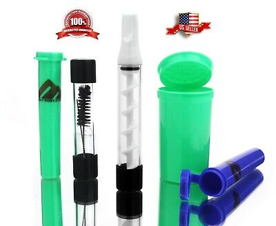 """"""" Pure White """" 100% Ceramic Twist Glass Blunt Bundle Kit w/3 Odorless Containers"""